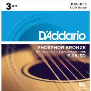 D'Addario EJ16-3D Phosphor Bronze Acoustic Guitar Strings - 3 Sets