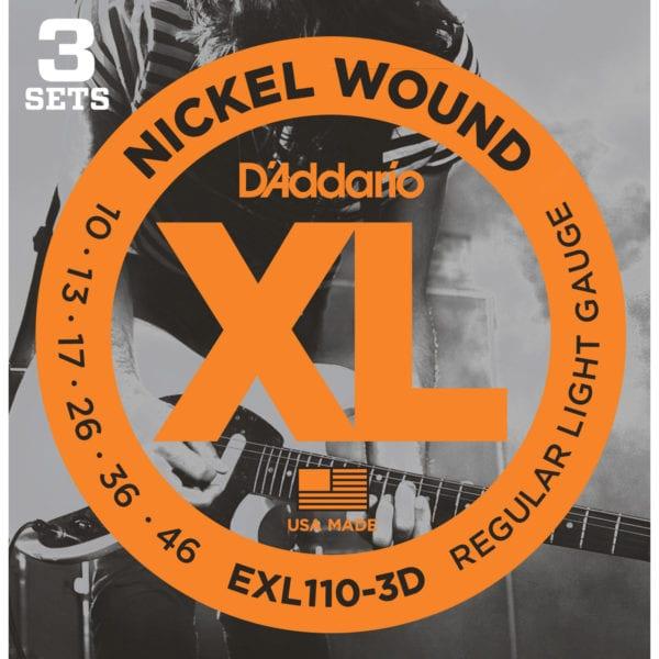 D'Addario EXL110-3D XL Nickel Wound Electric Guitar Strings 10-46, 3 Sets
