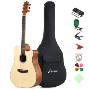 "Donner DAG-1C Beginner Acoustic Guitar Full Size, 41"" Cutaway Guitar Bundle"