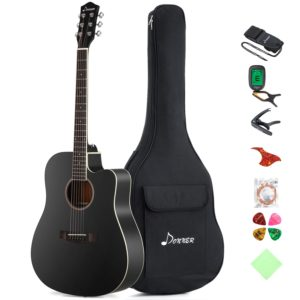 Donner DAG-1CB Black Beginner Acoustic Guitar Full Size