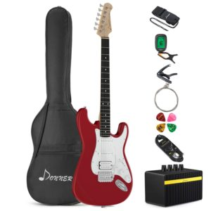 Donner DST-100R Full-Size 39 Inch Electric Guitar Red