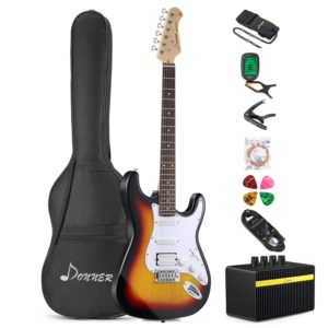 Donner DST-1S Solid Full-Size 39 Inch Electric Guitar Kit Sunburst Package