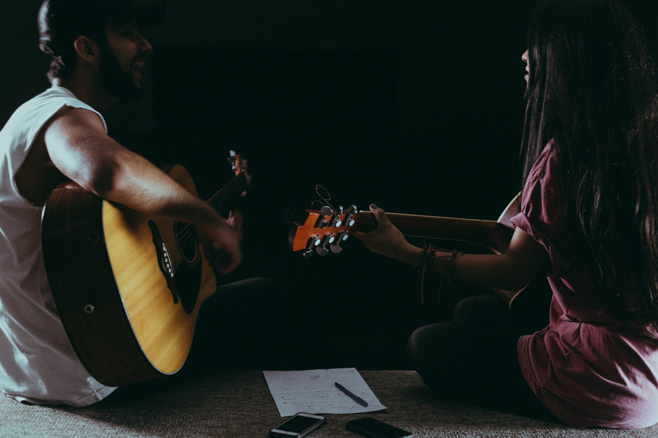 Man and Woman Playing Guitar | Top 9 Milestones To Shoot For When Learning To Play Guitar